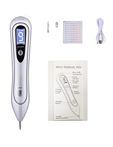 Portable Skin Tag 9-Level Repair Kit with LCD Home Beauty Equipment Device Apply to Warts, Age Spots, Tattoo, Nevus, Skin Pigmentation, USB Charging