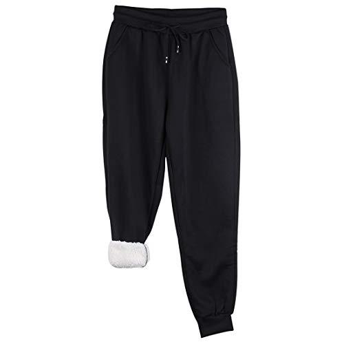 Shujin Damen Jogginghose Warme Sherpa Gefütterte Sporthose Verdickte Fleece Hosen mit Taschen Kordelzug Traininghose (Schwarz,L)
