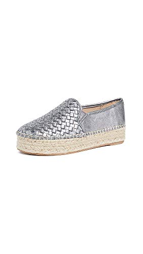Sam Edelman Women's Catherine Espadrilles, Pewter, Metallic, Silver, 7 Medium US