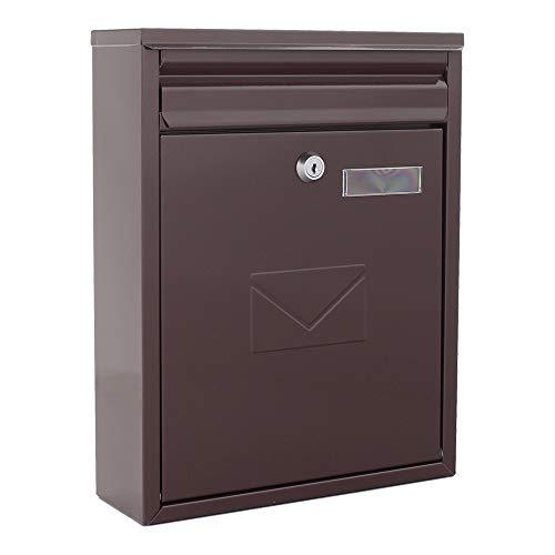 Rottner Como dubbele toegang stalen brievenbus geschikt voor wand/deur montage - bruin