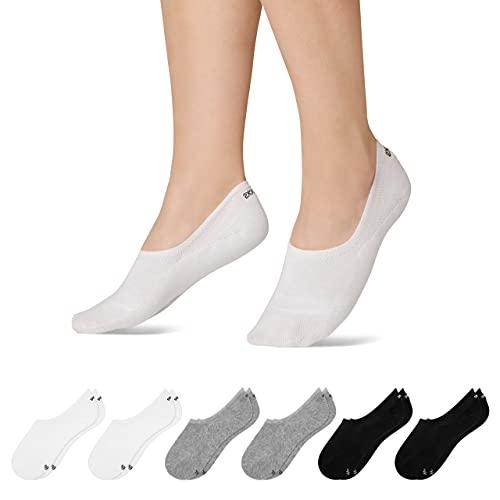 Snocks Sneaker Socken Damen und Herren (6x Paar) Füßlinge (2x Schwarz + 2x Weiß + 2x Grau, 39-42)