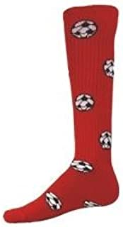 Red Lion Soccer Balls Design Athletic Sports Knee High Socks ( Red - Small )