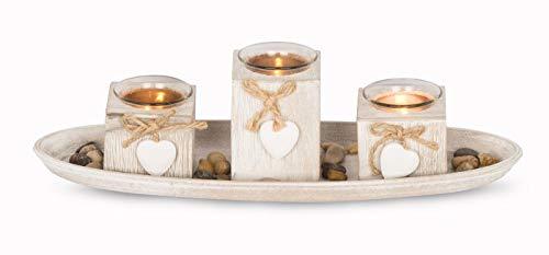 levandeo 4er Windlicht Set Holztablett B x H x T: ca. 39x3x14cm Weiß Grau Shabby Chic Landhausstil Vintage Deko Teelichtset