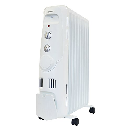 Igenix IG2600 Portable Oil Filled Radiator, Electric Heater with 3 Heat Settings, Adjustable Thermostat, Overheat…