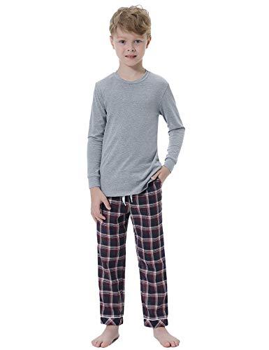 Hawiton Jungen Schlafanzug Kinder Baumwolle Pyjamas Sets Einfaches Gitter Langarm Zweiteilige Schlafanzug