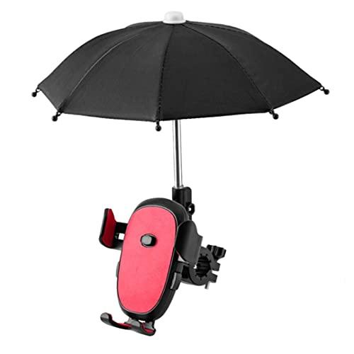 Tuimiyisou Bike Phone Mount Regolabile Bicycle Phone Stand con Mini Ombrello Red Cute Phone Phone Supporto del Telefono Cellulare - Bella Animale Ombrello Esterno del Sole del Sole Dell'ombrello