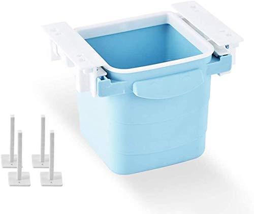 BESTSUGER Mülleimer Hänge Trash Can, Büro Mini Mülleimer, an der Wand for Badezimmer WC Abfall unter Schreibtisch Mülleimer Abfallbehälter, Küche Mülleimer (Color : Blue 2)