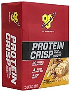 BSN Finish First Protein Crisp Protein Bars, Peanut Butter Crunch, 1.97 Oz, Box Of 12 Bars