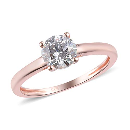 J Francis Solitaire Ring Made with Swarovski Zirconia for Women in Rose Gold Plated 925 Sterling Silver Christmas Gift/Engagement Jewellery Size K, TCW 1ct