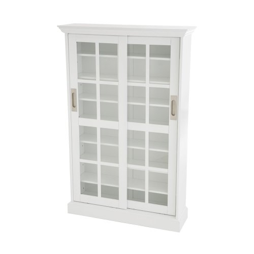 SEI Furniture Sliding Window Pane Door Display Cabinet, White