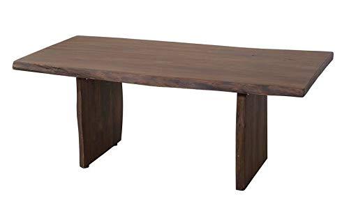 Table basse 120x60cm - Bois massif d'acacia laqué (Brun classique) - Design naturel - PURE EDGE #007