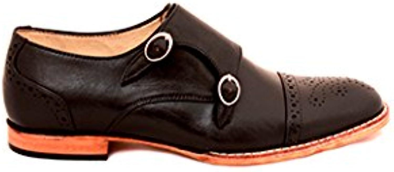 TAAVETTI Men's Formal Black Handmade Leather Berenice Monk shoes