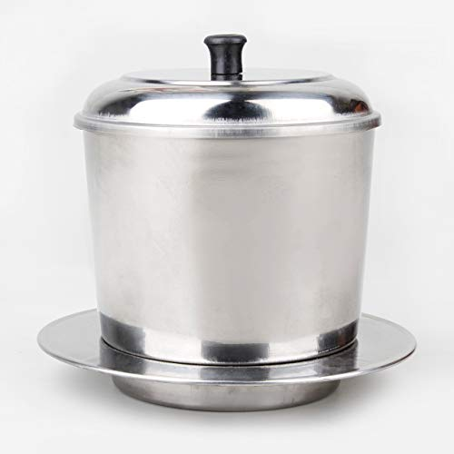 Large Vietnamese Coffee Maker Large Size Coffee Pot | French Press Style Coffee Filters | Pour Over Coffee Dripper | Portable Coffee Maker | Use 9 oz Ground Coffee | Stainless Steel (10 Cups)