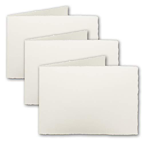 DIN A8 Mini-Vintage vouwkaarten, echt ruitenpapier, 5,5 x 8,5 cm - dwarsdubbel, natuurlijk wit 260 g/m2 - Vellum oppervlak - Origineel Zerkall-Beitjes 50 Doppelkarten natuurlijk wit