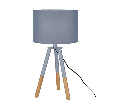 Sit Möbel This & That tafellamp frame Hevea en eiken, kap textiel L = 30 x B = 30 x H = 55 cm frame grijs en natuur, kap grijs