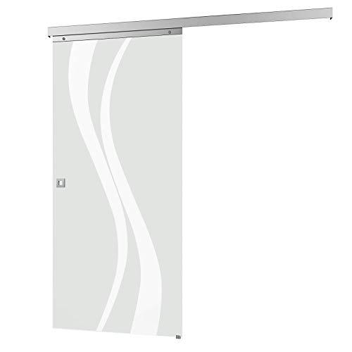inova Glas-Schiebetür 880 x 2035 mm Wellen Design Alu Komplettset mit Lauf-Schiene und Quadratgriff inkl. Softclose
