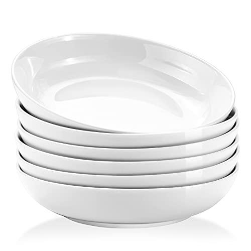 Yedio Pasta Bowls, 22 Ounces Porcelain Salad Bowls for Kitchen, Shallow Pasta Bowls Set, White Pasta Bowls, Microwave Dishwasher Safe, Set of 6