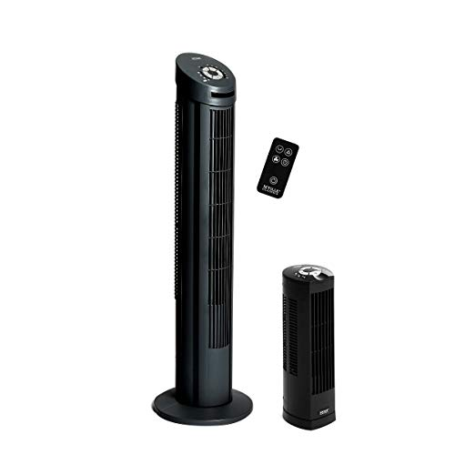 Seville Classics UltraSlimline 40 in. & 17 in. Combo Pack Tower Fan, Black
