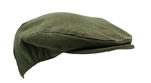 Walker & Hawkes - Casquette plate imperméable - unisexe - moleskine - pour la campagne - Olive - L (59cm)