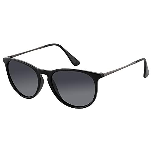EFE Gafas de sol polarizadas mujer hombre unisex polaroid gafas Retro y Moda ligeros comodos protección UV400 redondas para Pesca Senderismo Conducir Excursión Running gris