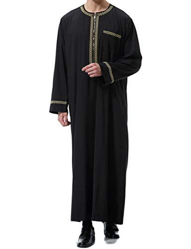 Islamic Mens Clothing Kaftan Maxi-Muslim Male Shirt Long Sleeve Abaya Dubai Cotton (Black,XXXL)