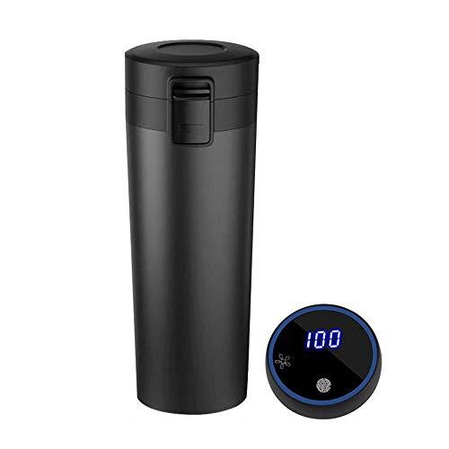 ZXZXZX Thermosflasche, 12V Selbsterhitzende Auto-Tasse, (450ml) Wasserflasche Vakuum Isolierbecher 304 Edelstahl, LCD-Touchscreen-Temperaturanzeige, Geeignet für Langstreckenfahrten