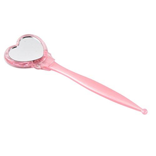 Lurrose Rasoir à Sourcils avec Un Miroir en Forme de Coeur Sourcils Tondeuse Cils Peigne Outil de Suppression de Cheveux pour Femmes (Rose)