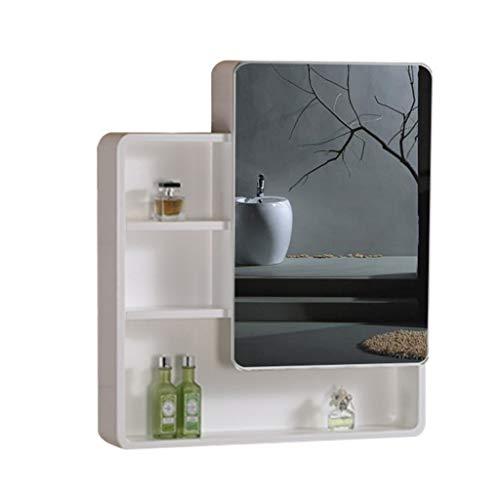 Spiegelkasten, massief hout, badkamerspiegelkast, badkamerwand, afgeronde kleding, badkamerspiegel met plank, kasten