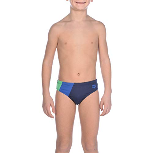 arena Jungen Slip Badehose Diagonal Stripe, navy-Royal-Golf green, 128