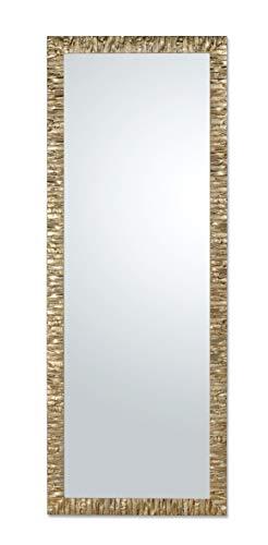 MO.WA Specchio da Parete Cornice Legno Champagne Misura Esterna cm. 55x145 da Appendere Verticale/Orizzontale. Made in Italy.