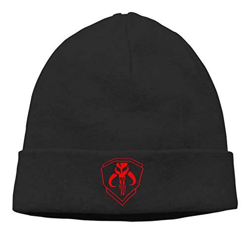 Curpubum Mandalorian Skull Logo Winter Beanie Hat,Warm Knit Beanie Ski Skull Cap Black