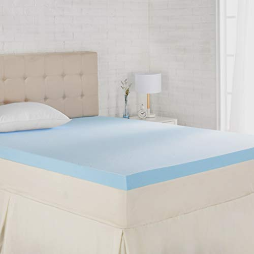 AmazonBasics Cooling Gel-Infused Memory Foam Mattress Topper - Ventilated, CertiPUR-US Certified Foam, 3-Inch - King