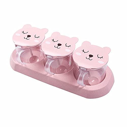 CHENSQ Urocze okrągłe pudełko na przyprawy niedźwiedzia, klapka z łyżką, zestaw przypraw, słoiki na przyprawy, pojemniki na przyprawy. Taca do serwowania, idealna do luźnej herbaty, miski z cukru, przypraw
