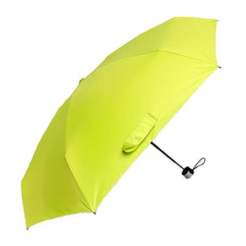 JCOCO Großer Regenschirm Fünf Faltender Regenschirm Männer Und Frauen Mini Faltender Zero Transparenter UV Sonnenschutz Sonnenschirm (Farbe : Leuchtendes Grün)