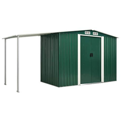 vidaXL Gerätehaus mit Schiebetüren verlängertem Dach Geräteschuppen Garten Schuppen Gartenhaus Gartenschuppen Grün 386x131x178cm Stahl