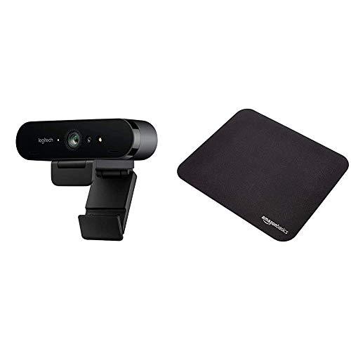 Logitech Brio Stream Webcam, 4K Ultra-HD 1080p, Weites anpassbares Blickfeld, USB-Anschluss, Abdeckblende, Abnehmbarer Clip, Für Skype, Zoom, Xsplit - Schwarz & Amazon Basics - Gaming-Mauspad