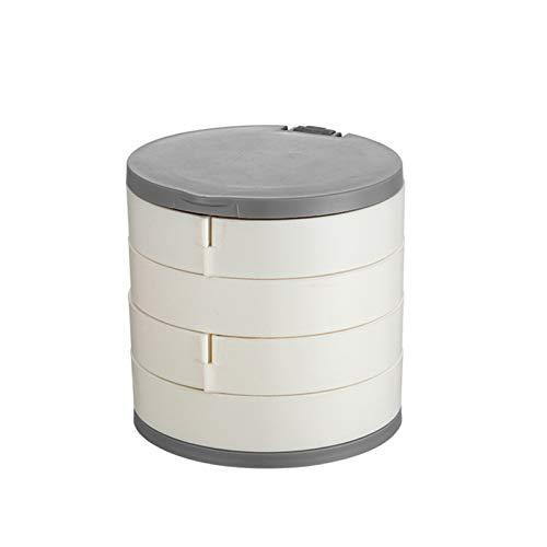 Serious Lamp Caja de Joyería Multicapa Giratoria Caja de Almacenamiento Multifuncional Caja Soporte para Pulseras, Pendientes y Collares,Blanco