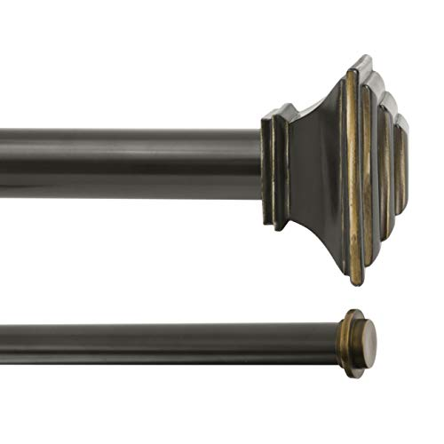 """Kenney KN85064 Mission Double Curtain Rod, 66-120"""", Oil Rubbed Bronze"""