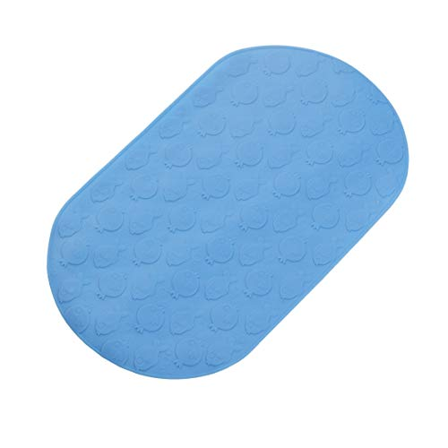 bisoo Tappeto Antiscivolo per Vasca Neonato 25x42 cm - Senza BPA - Tappetino qualità Superiore per Bambini e Neonati - Trattamento Antibatterico - Lavabile in Lavatrice (Pesciolini Blue)