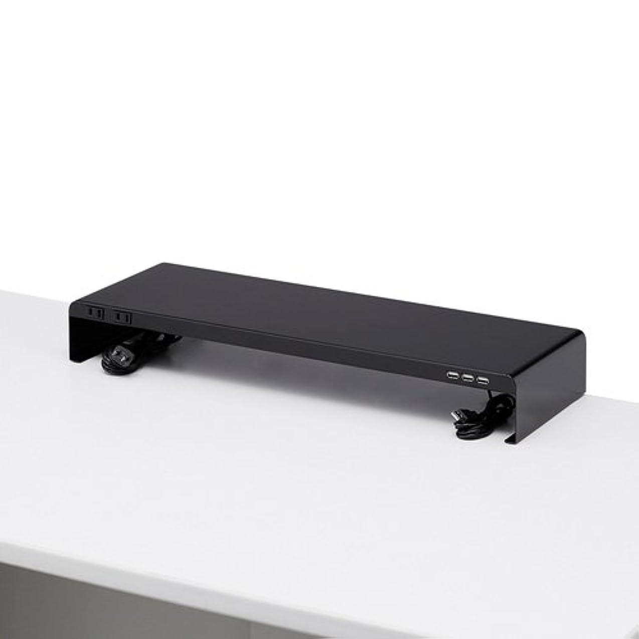 エキサイティング戸棚ダムサンワサプライ アウトレット 机上モニタスタンド 電源タップ USBポート付き ブラック MR-LC202BK