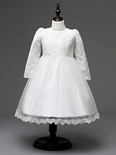 GHTWJJ Meisjes Avond Jurken Meisje Prom Bruiloft Prinses Jurk Kinderboog Tutu Wit Roze Lange Mouw