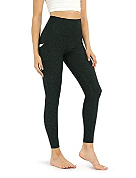 ODODOS Women s High Waisted Pattern Yoga Leggings with Pockets Tummy Control Non See Through Workout Sports Printed Running Pants Plus Size Charcoal Leopard XXX-Large