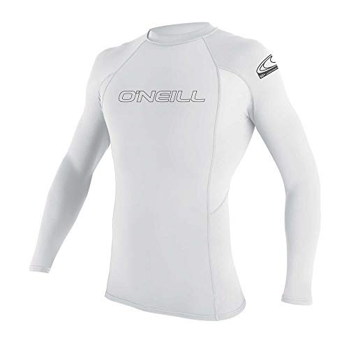 O'Neill Men's Basic Skins UPF 50+ Long Sleeve Rash Guard, White, Large
