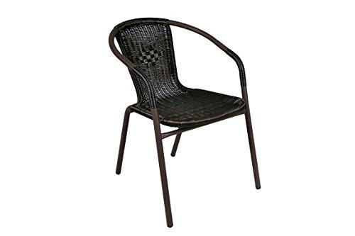 Nexos Bistroset Balkonset Rattanset – Sitzgarnitur aus Glastisch & Bistrostuhl – Stahlgestell Poly-Rattan Glasplatte – robust stapelbar – dunkel-braun - 5