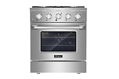Empava 30 Inch Pro-Style Slide-In Single Oven Gas Range with 4 Sealed Ultra High-Low Burners-Heavy Duty Continuous Grates in Stainless Steel