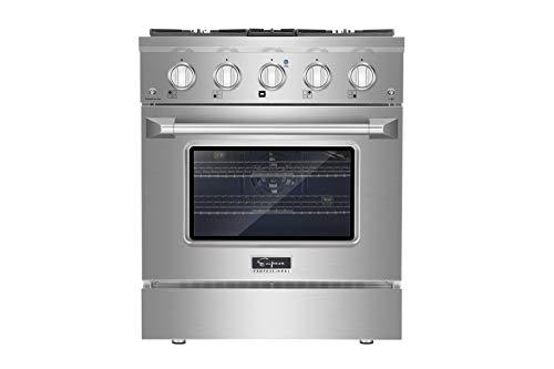 """Empava 30"""" Slide-in Single Oven Gas Range with 4 Sealed Ultra High-Low Burners-Heavy Duty Continuous Grates in Stainless Steel, 30 Inch, Silver"""