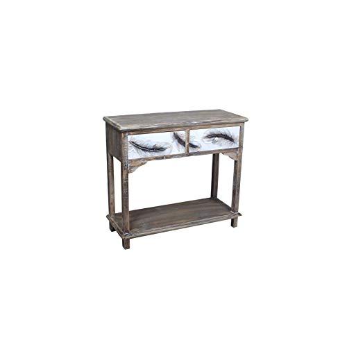 Art Deco Home 16069SG bijzettafel met 2 laden, veren, 90 cm