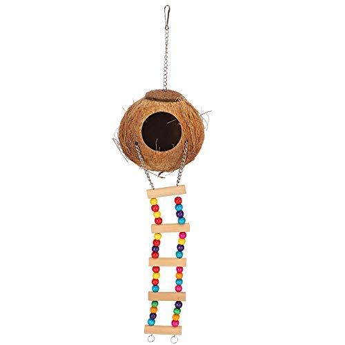 Tnfeeon Nidos de pájaros Cama de casa de cáscara de Coco Jaula de pájaros con Escalera Columpio Colgante Hamaca de Escalada