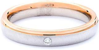 Breuning 18K White/Rose Brushed & Shiny Finish 0.015ct Round cut Diamond Wedding Ring [BR5651]