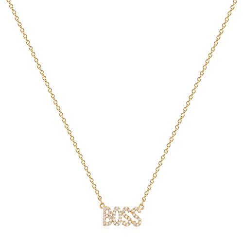 Bemoly 14K Gold Necklace Cubic Zirconia Word BOSS Y Pendant for Women Personalized Gold Plated Dainty Simple Handmade Jewelry Gift,17'